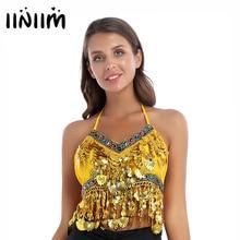 iiniim Womens Fashion Rhinestone Padded Bra Lace-up Shell Tassel Tops Latin Belly Dance Wear Party S