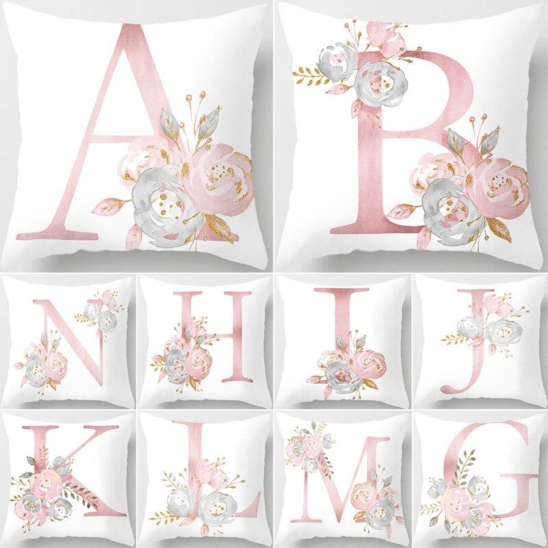 45X45cm розовые цветочные буквы декоративные домашние наволочки диванные подушки Чехлы розовые наволочки для подушки Декор для дом, автомобил...