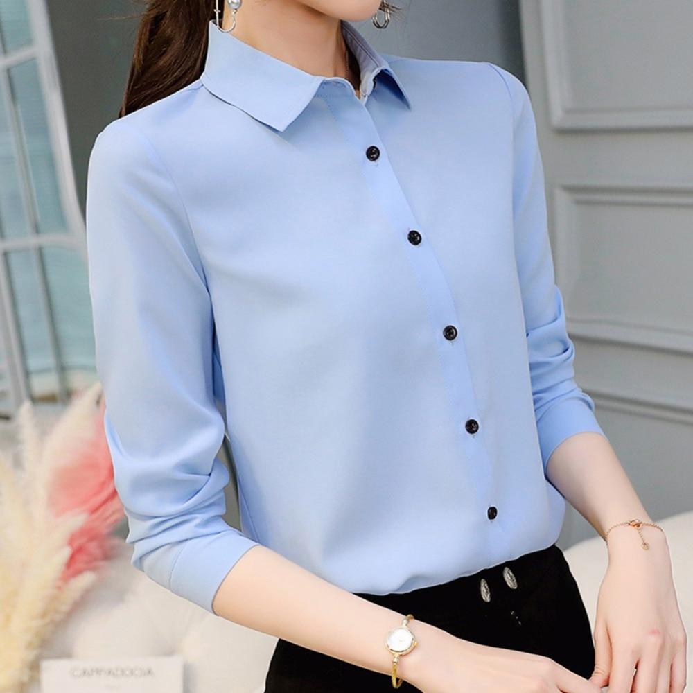 Blusa de mujer Primavera Verano manga larga solapa Casual gasa Color sólido blusa ropa de trabajo