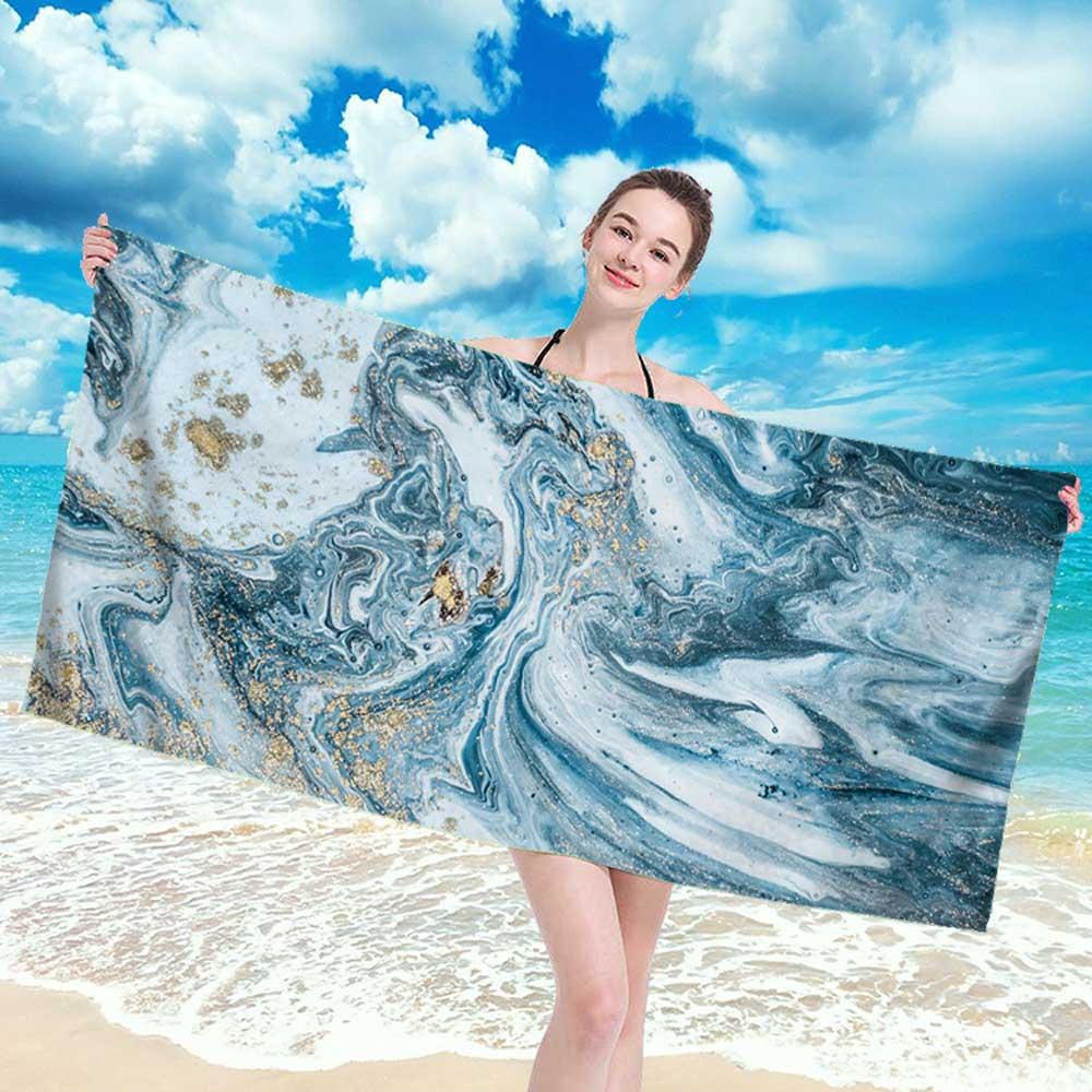 Large Rectangle Beach Towel For AdultMarble Colorful Mandala Yin Yang Pattern Shower Bath Towel Travel Blanket Swimming Cover
