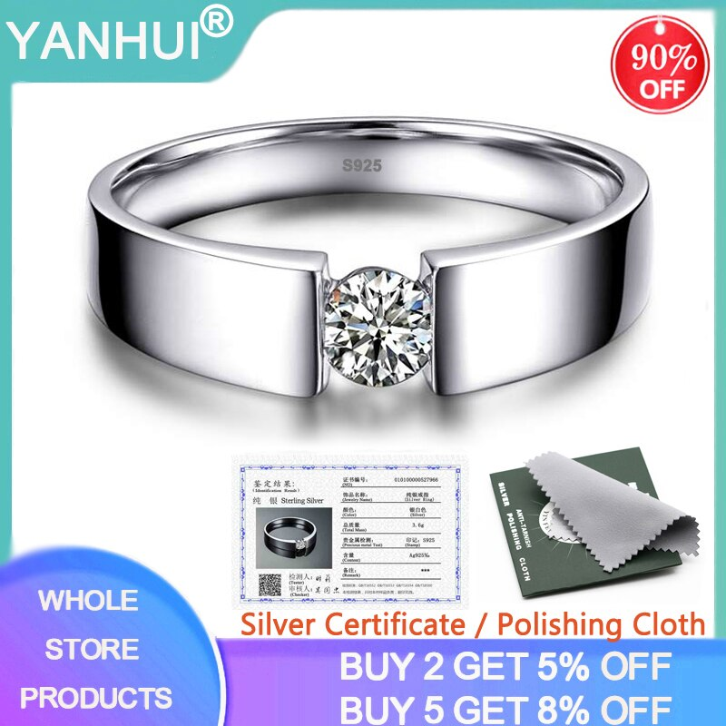 YANHUI With Certificate Original 925 Silver Rings for Men 1 Carat Lab Diamond Rings Wedding Band Male Finger Ring Fine Jewelry