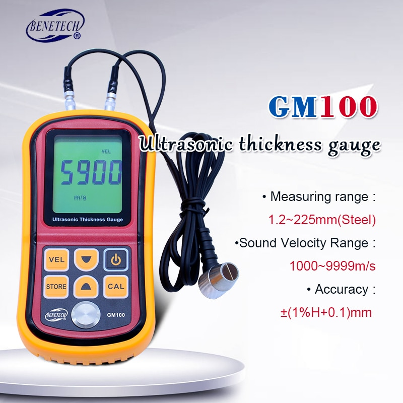 بينيتك GM100 بالموجات فوق الصوتية سمك مقياس رقمي LCD سمك المعادن مقياس الصوت velycle meter 1.2-225 مللي متر (الصلب) 0.1 مللي متر القرار