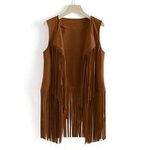 Women Fashion Fringe Vest Vintage Leather Suede Vest Tassels Western Country Cowgirl Vest Cardigan Waistcoat Jacket
