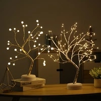 exquisite high end lantern led copper wire light tree light touch switch pearl starry fire tree silver flower warm night light