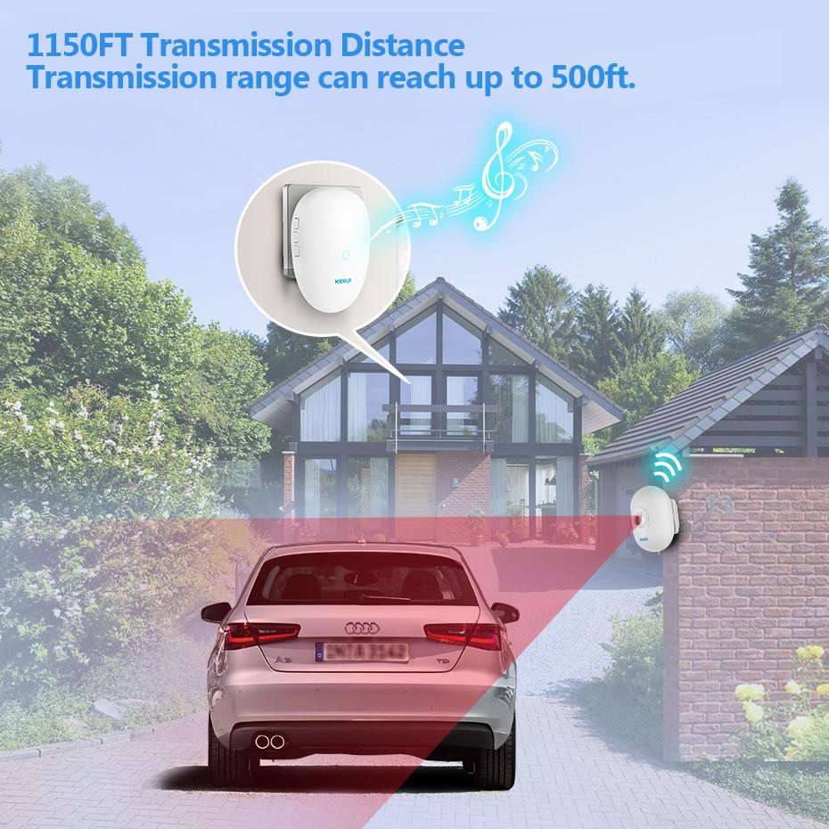 KERUI Driveway Alarm Systems Smart Home Waterproof Motion Sensor Welcome Doorbell Car Garage Securit