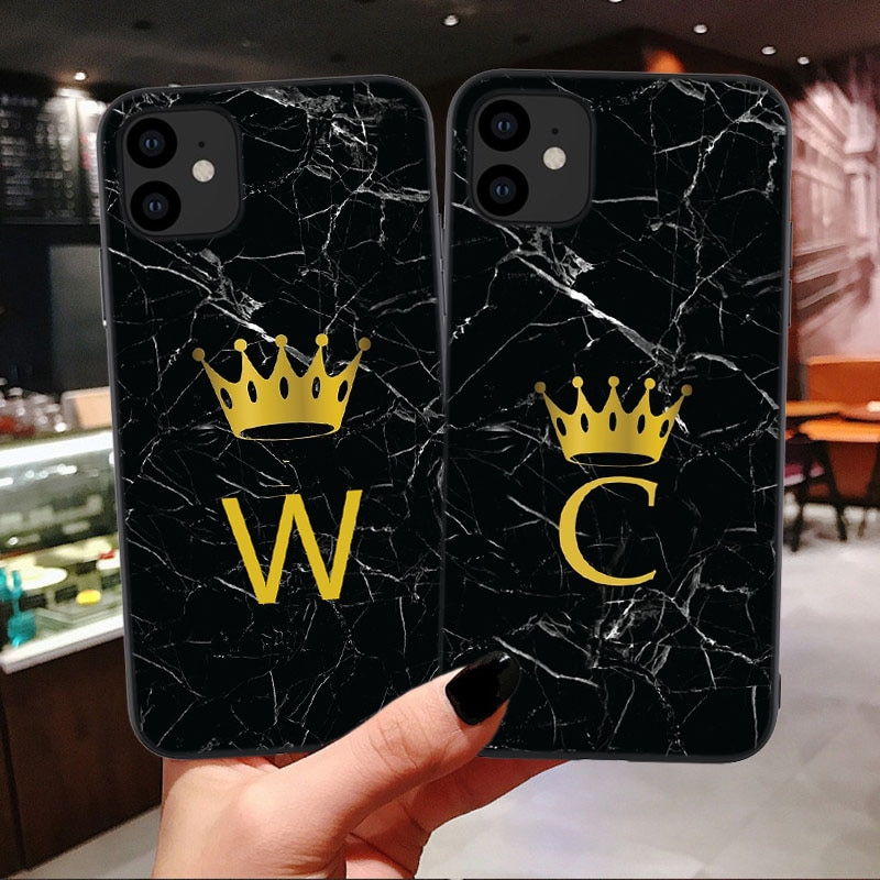 Negro mármol caso personalizado para iPhones 11 Pro Max corona rey carta cubierta de silicona para iPhone SE 2020 6S 6 7 8 Plus X XS X Max XR