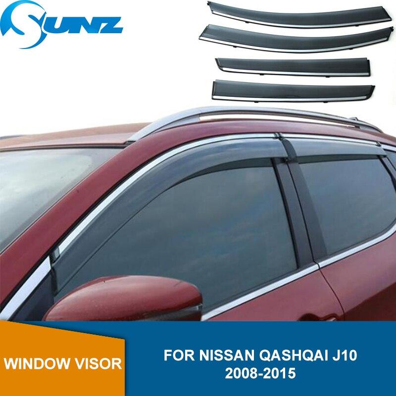 Janela lateral defletores para nissan qashqai j10 2008 2009 2010 2011 2012 2013 2014 2015 janela viseira sol chuva defletor guarda sunz