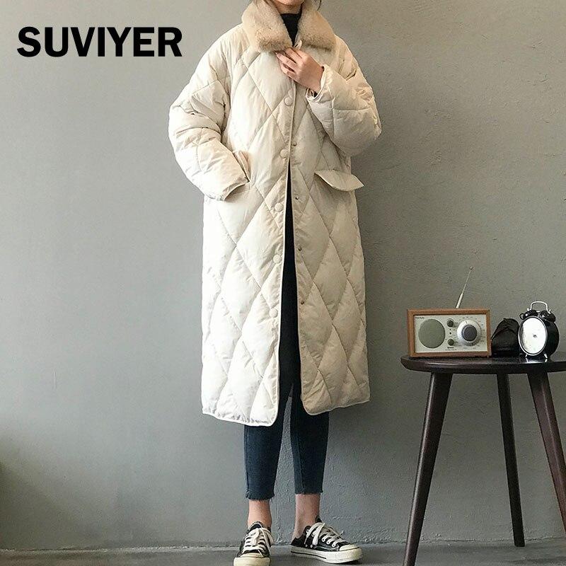 Женская зимняя куртка со стразами [SUVIYER], свободная длинная куртка Sustans с меховым воротником, теплая Мода 2021