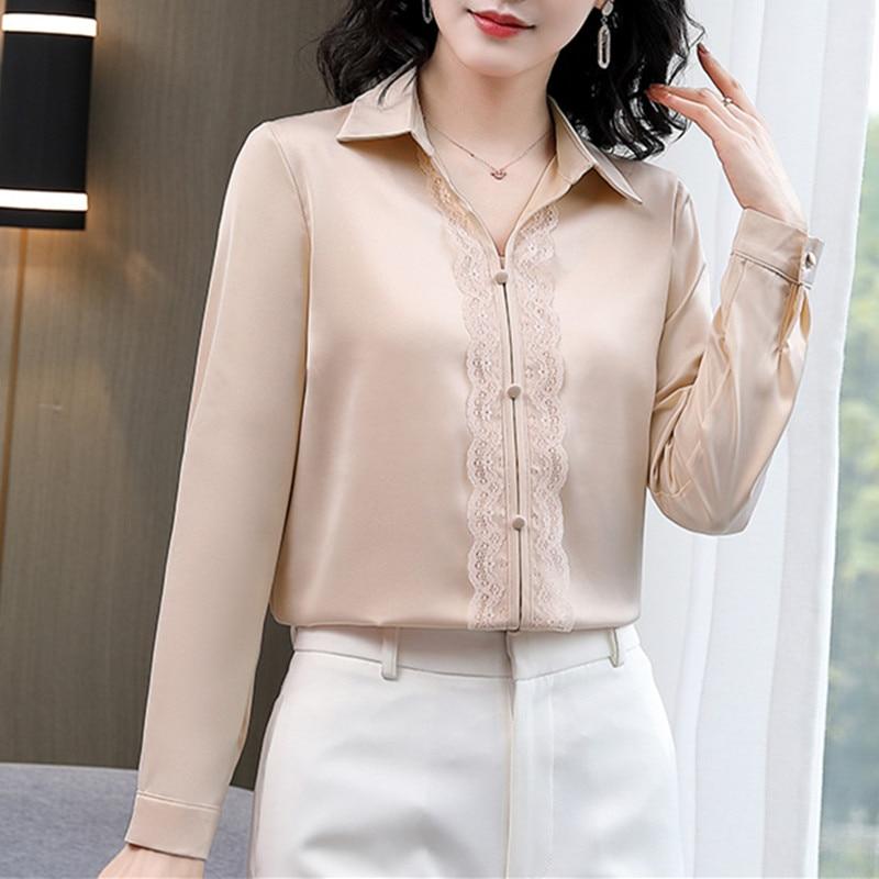 Корейские шелковые женские рубашки, женские атласные белые рубашки, женские атласные блузки с длинным рукавом, шелковые женские топы, Женск...