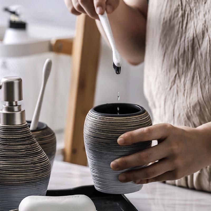 Ceramic Bathroom Toiletries Accessories Storage Sets Toothbrush Holder Soap Dispenser Mouthwash Cup Retro Handmade Decoration enlarge