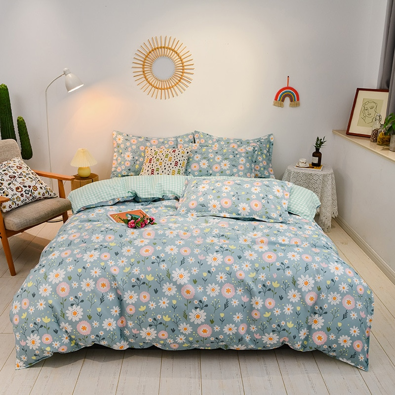 Bedding Set Home Bedroom Set Simple Fashion Duvet Cover Bed Sheet Pillow Case Double-sided Pattern Twin Queen King 220x240