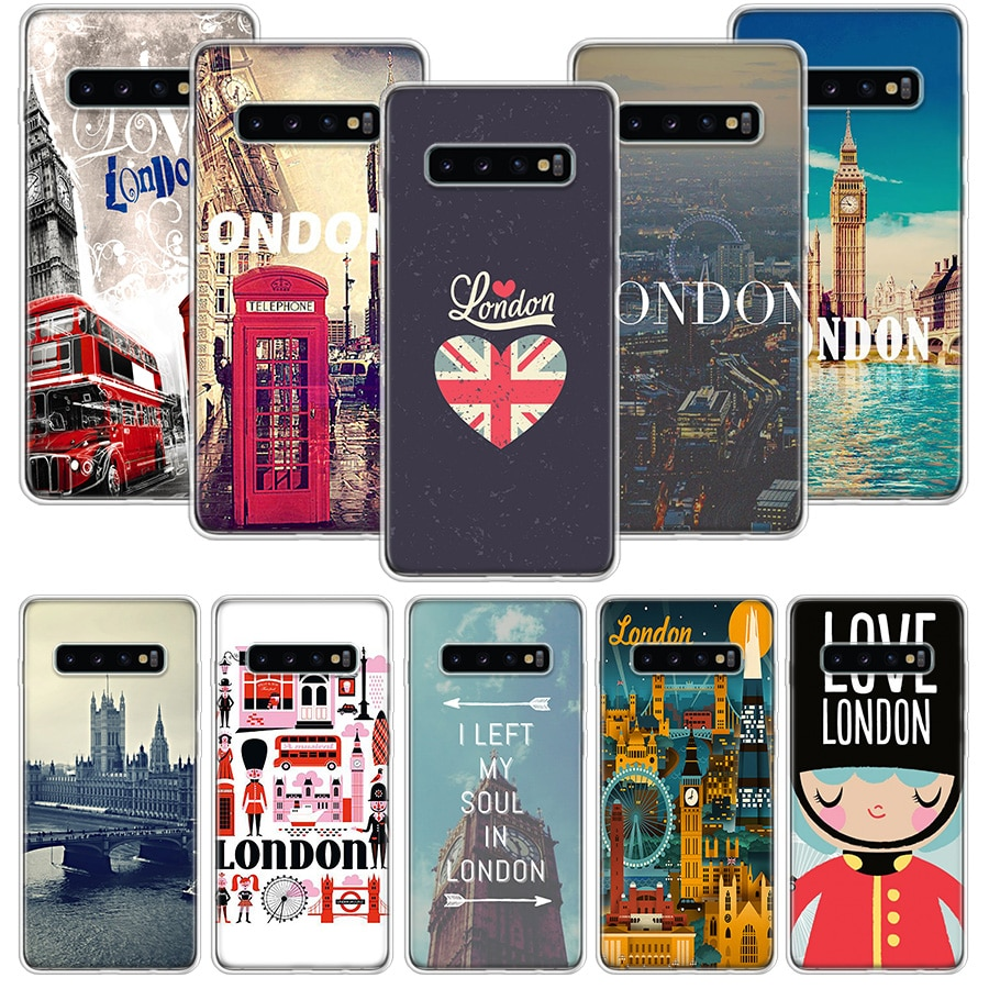 Londres caso para Samsung Galaxy Nota 10 9 8 S10 + Lite S9 S8 J4 J6 J8 Plus 2018 S7 S6 borde funda de teléfono blanda