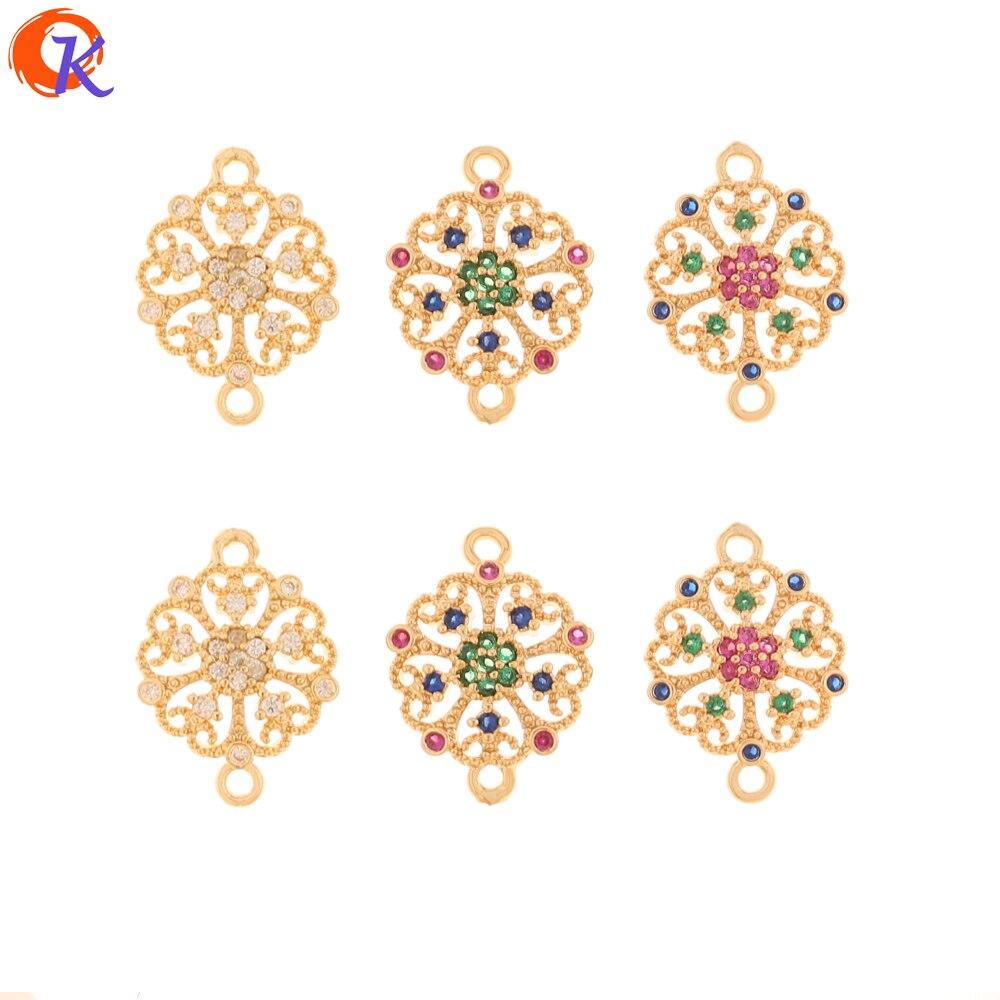 Design cordial 50 pçs 12*16mm jóias acessórios/brincos conectores/diy fazendo/zircônia cúbica encantos/feito à mão/brinco descobertas