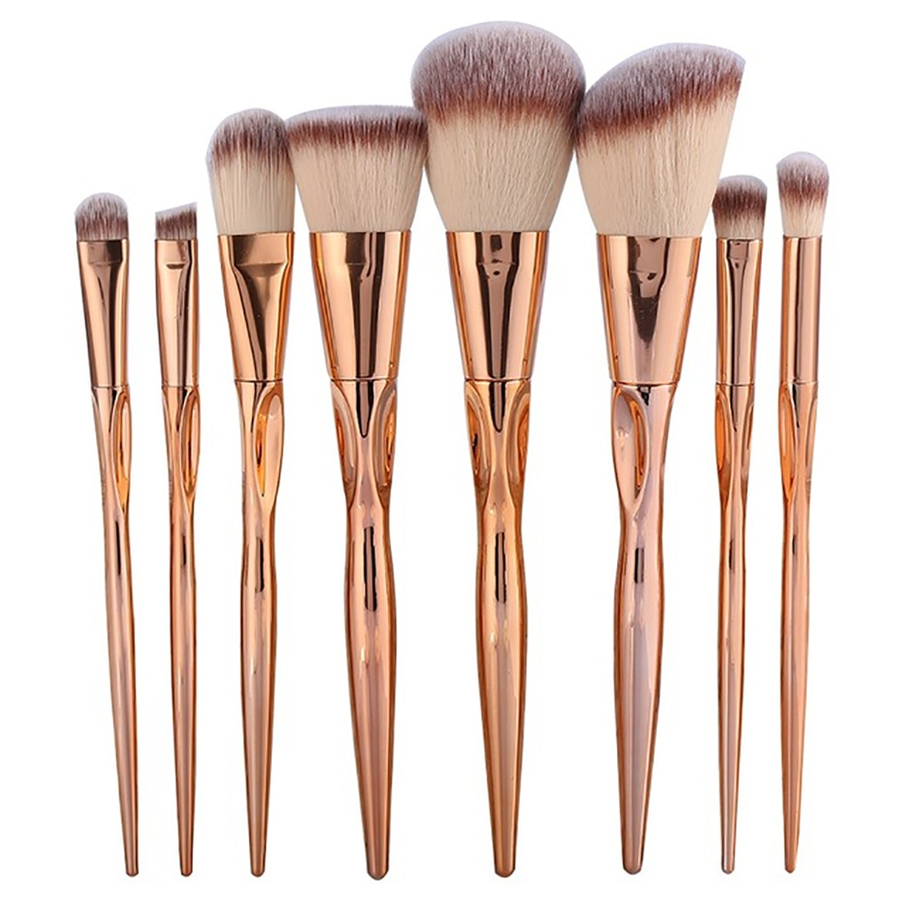 GUJHUI Pro 8pcs Metal Makeup Brushes Set Cosmetic Face Foundation Powder Eyeshadow Blush Lip Plating Make Up Brush Kit Maquiagem недорого