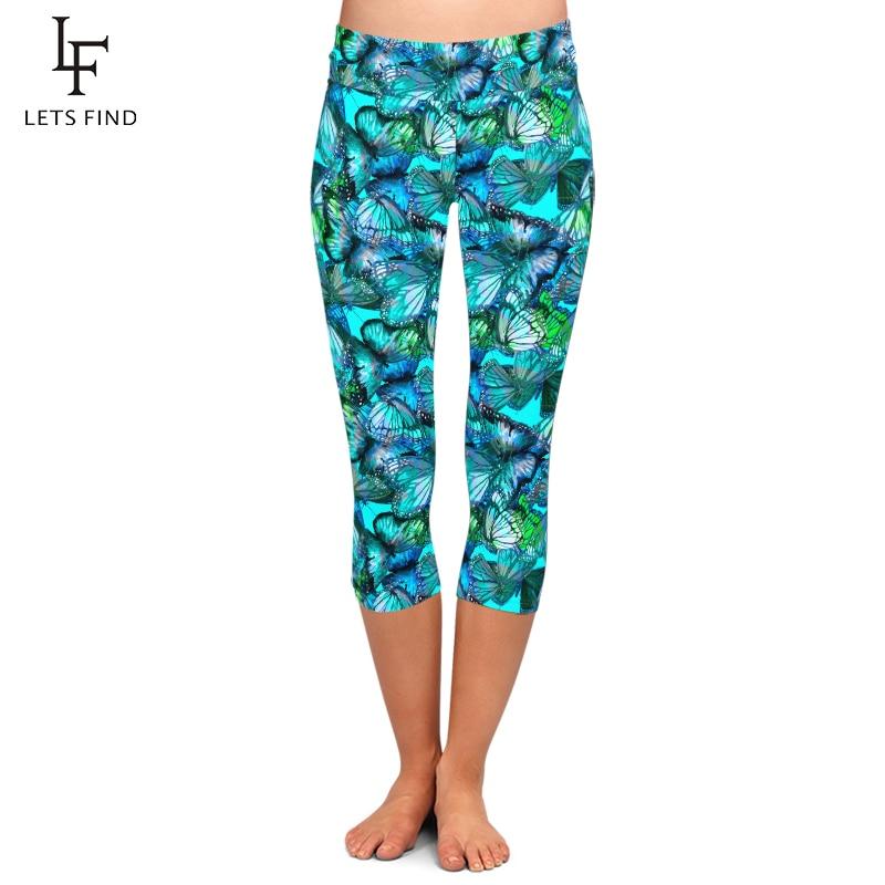 Letsfind 2020 nova alta quaility mulheres capri leggings azul borboletas imprimir cintura alta plus size fitness macio meados de bezerro leggings