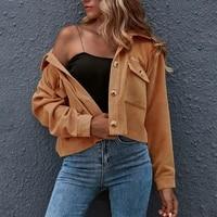 womens autumn winter shirt upper sleeve button shirt jacket ladies clothing