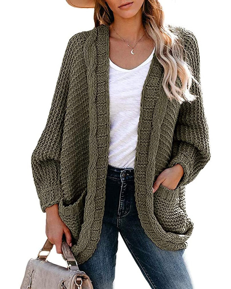 Autumn and winter new product thick line twist cardigan sweater casual twist rope bat sleeve sweater coat Coat women,Women's enlarge