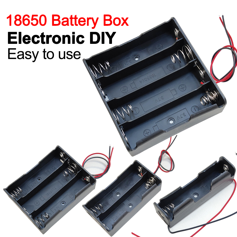 New 18650 Power Bank Cases 1X 2X 3X 4X 18650 Battery Holder Storage Box Case 1 2 3 4 Slot Batteries Container With Wire Lead