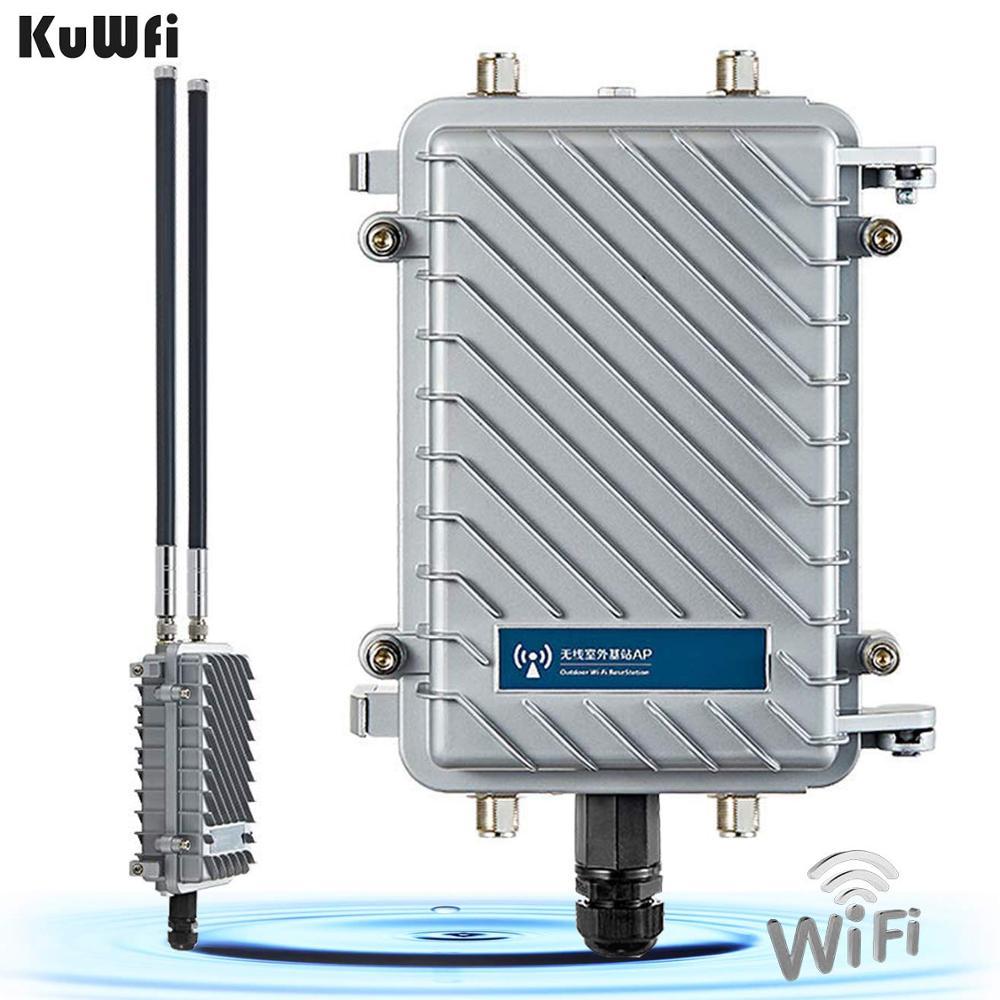 KuWfi 300 Мбит / с Наружный маршрутизатор 500 МВт Беспроводной мост и повторитель WiFi Усилитель сигнала Точка доступа на большие расстояния Маршрутизатор CPE 2 * 18 дБи