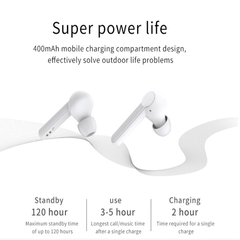 Blanco TWS verdadera inalámbrico estéreo Bluetooth auriculares con movimiento auriculares 5,0 XY-7