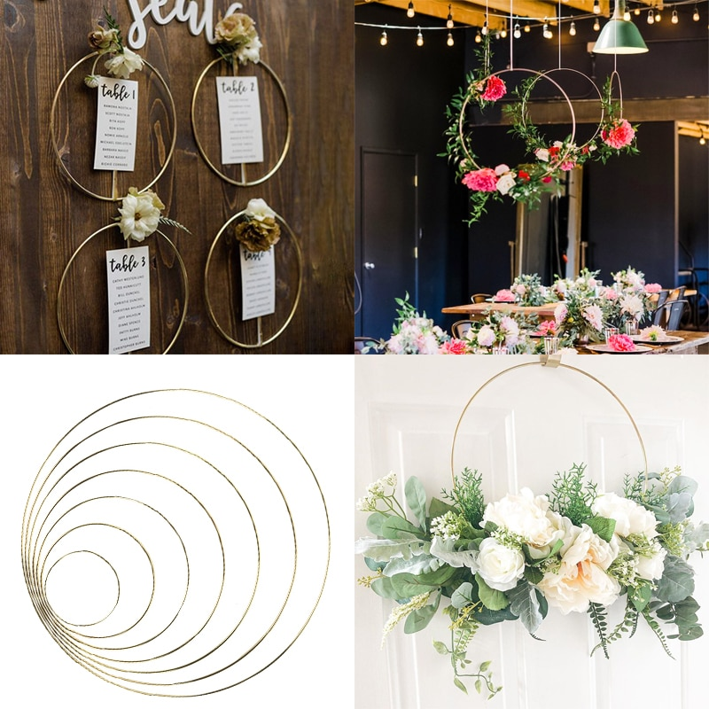 AliExpress - Wedding Decoration 10-40cm Metal Hoops Home Door Hanging Gold Iron Metal Ring Wreath Wall Hanging Ornament Bridal Shower Props