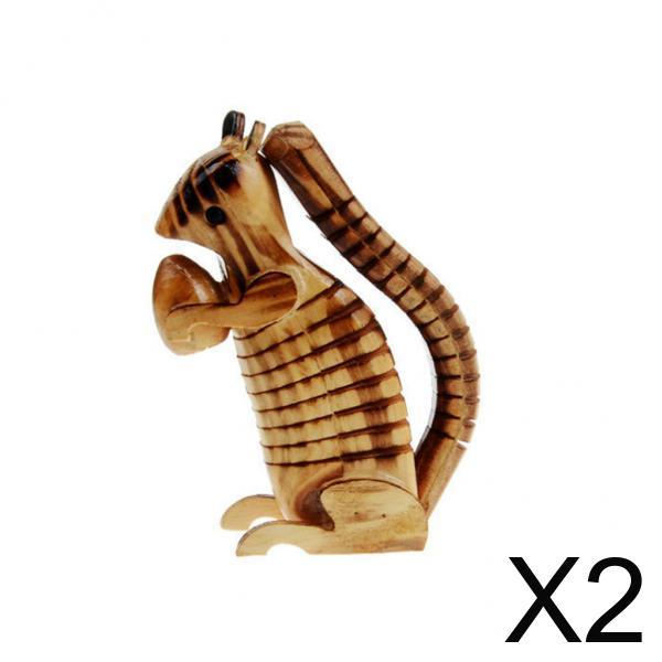 2xWooden Swing Squirrel Shapes Woodcraft Kids Toy Home Decor Gift