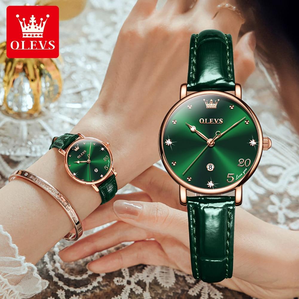 OLEVS 2021 حار قمة الموضة السيدات الفاخرة حزام من الجلد ساعة كوارتز السيدات الأحمر ساعة السيدات فستان أخضر ساعة Relogio feminino