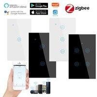 Tuya     interrupteur mural intelligent en verre  1 2 3 4 gangs  commande vocale  sans fil  avec Alexa et Google Home