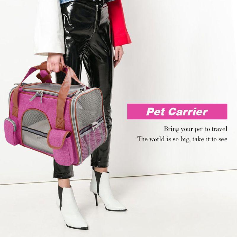 Bolsa de hombro de malla transpirable para mascotas, bolsa de viaje para gatos, perros, cachorros, para uso en interiores y exteriores