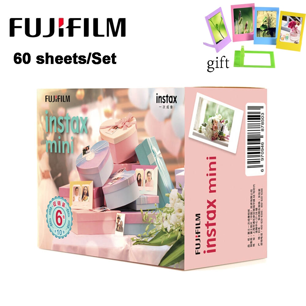 60 folhas/Set Papel Fotográfico Fujifilm Instax Mini Film Câmera Instantânea Borda Branca para Instax Mini LiPlay 9 8 7s 25 70 90 SP-2 Câmera