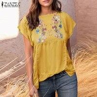 zanzea 2021 summer vintage lace chic tops femme clothing women embroidery blouse casual elegant floral shirt blusa split chemise
