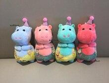 size 12*6cm , cute hippos plush stuffed toy , animal hippo key ring chain doll toy