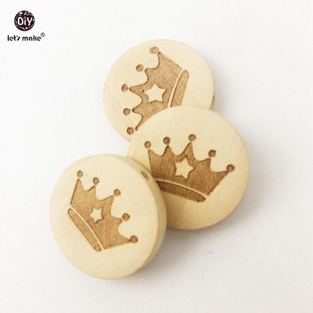 Hacer cuentas de madera 50pc grabar círculo de letras protección del medio ambiente Original suave pulsera mordedor de cuentas para bebé