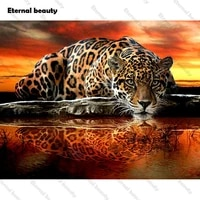 Peinture diamant theme leopard et tigre  perceuse complete 5D  bricolage  broderie  points de croix  strass  mosaique  peintures danimaux  decor de maison