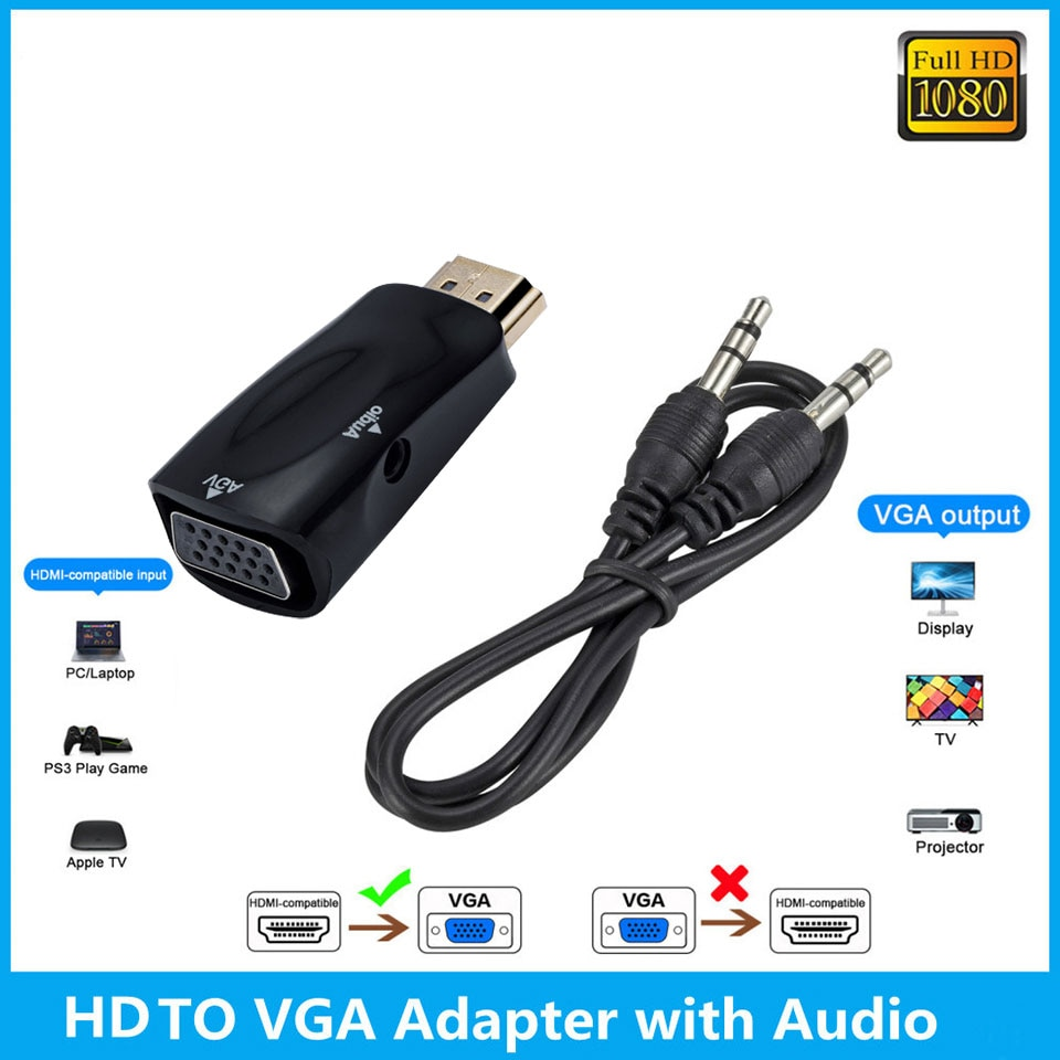 NEW HD 1080P HDMI-compatible to VGA Adapter Digital to Analog Converter Cable For PC Laptop TV Box C