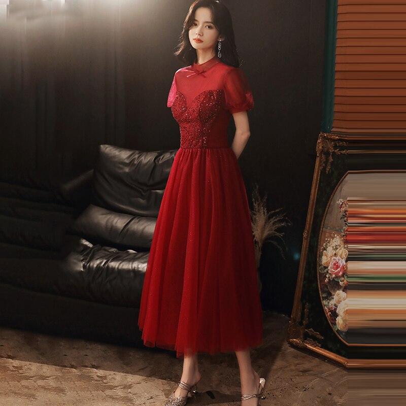 فساتين مناسبة خاصة الوهم عالية قصيرة فاخرة بورجوندي مطرزة بالخرز a-line تول دانتيل طول الأرض فستان حفلات سيدة E942