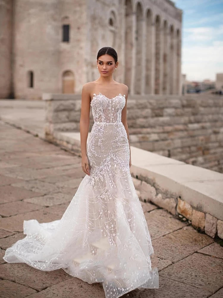 Get Wedding dress Mermaid wedding dress tube top white sleeveless wedding gown backless embroidery applique lace tailing