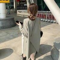 spring autumn 2021 korean women slate gray blazers loose lapel single breasted office ladies elegant suit jacket casual fashion