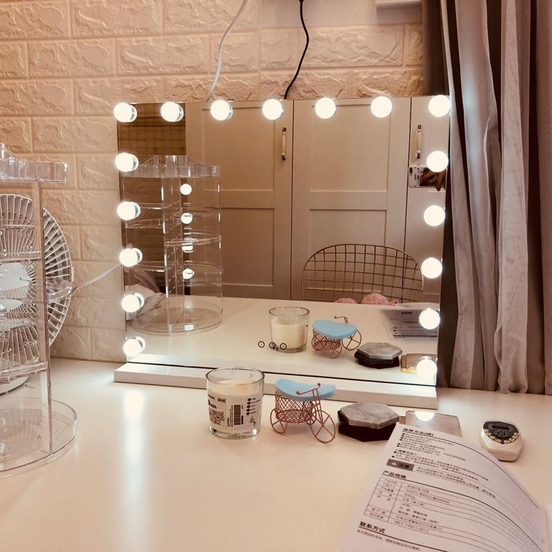مرآة تجميل مع لمبة ليد led مصابيح مزودة بإضاءة ليد مرايا مستحضرات تجميل منضدة شاشة تعمل باللمس مضاءة الغرور مع تكبير 10X