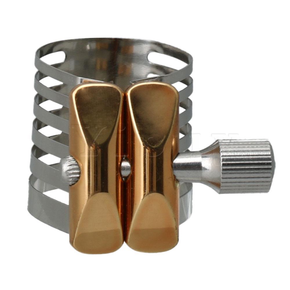 Ligadura de saxofón Alto E plana de Metal plateado 1x de Yibuy para saxofón Alto