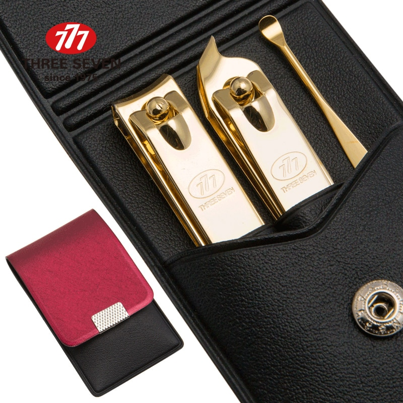 Três sete/777 portátil prego clippers manicure conjunto cutícula empurrador/earpick 3 em 1 ouro-banhado pedicure cuidados ferramentas da arte do prego