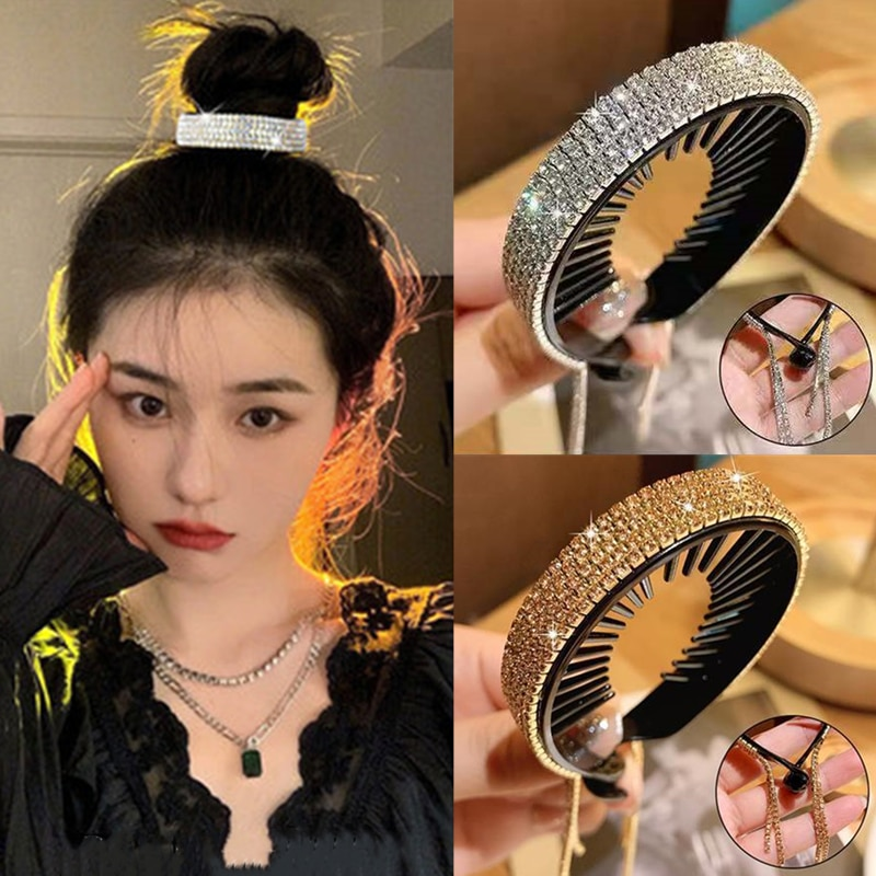 H:HYDE For Women Rhinestone Hair Claw Hair Artifact Horsetail Buckle Grasping Clip Temperament Retainer Tassel Hairclip