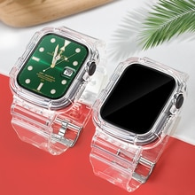 Clear Band for Apple Watch 44mm 42mm 40mm 38mm Case, Women Cute Girl Crystal Jelly Protective  for i