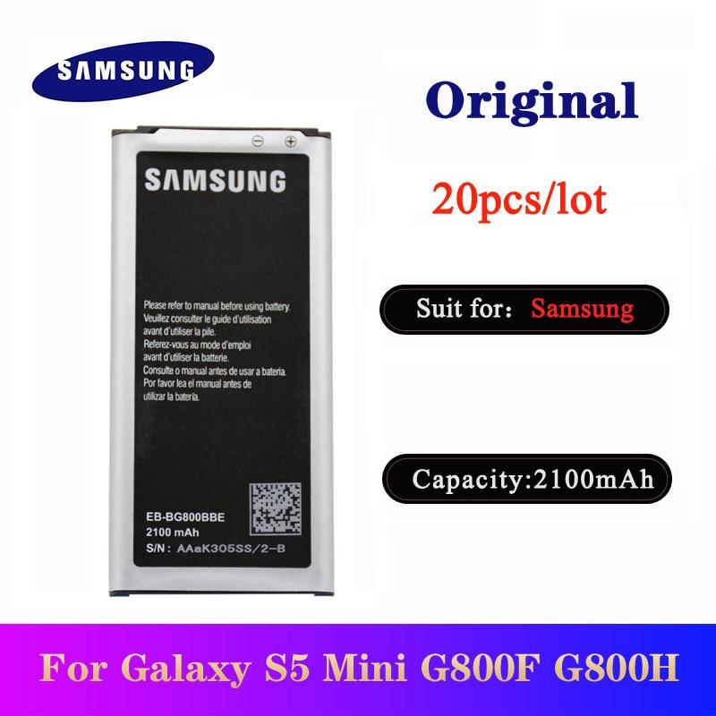 20pcs/lot Battery EB-BG800BBE for Samsung Galaxy S5 mini SM-G800F G870A G800H Original Smartphone Batteries 2100mAh In Stock