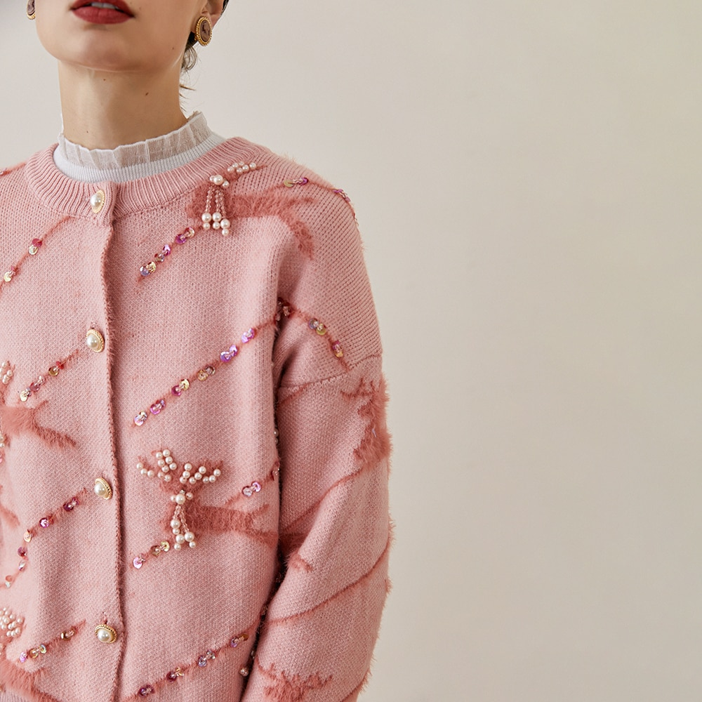 Women Knit Jacket 2020 Fashion Cute Round Neck Fawn Beaded Loose Pink Sewater Knitted Cardigan Chrismtas Jumper enlarge