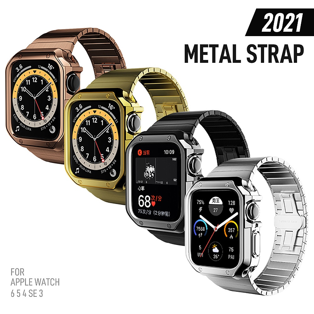 women strap for apple watch 6 band 38mm 42mm iwatch band serice 5 4 3 stainless steel strap for apple watch strap 44mm 40mm 2 1 For Apple Watch Series 6 5 4 3 2 Band Strap 40mm 44mm 42mm Black Stainless Steel Bracelet Strap Adapter for iWatch Band 4 3 38mm