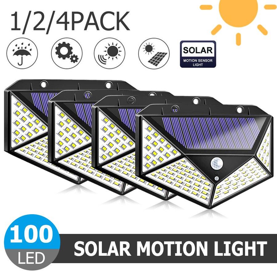 Luz Solar LED 30/40/100 para decoración de jardín o exterior, lámpara con Sensor de movimiento PIR, luz nocturna de pared de seguridad, lámpara de patio impermeable