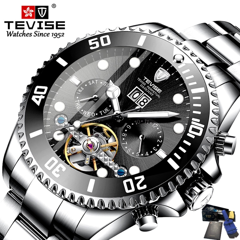 Tevise-ساعات ميكانيكية للرجال ، ساعة يد توربيون أوتوماتيكية ، تصميم شهير ، ساعة ذهبية فاخرة ، أفضل العلامات التجارية