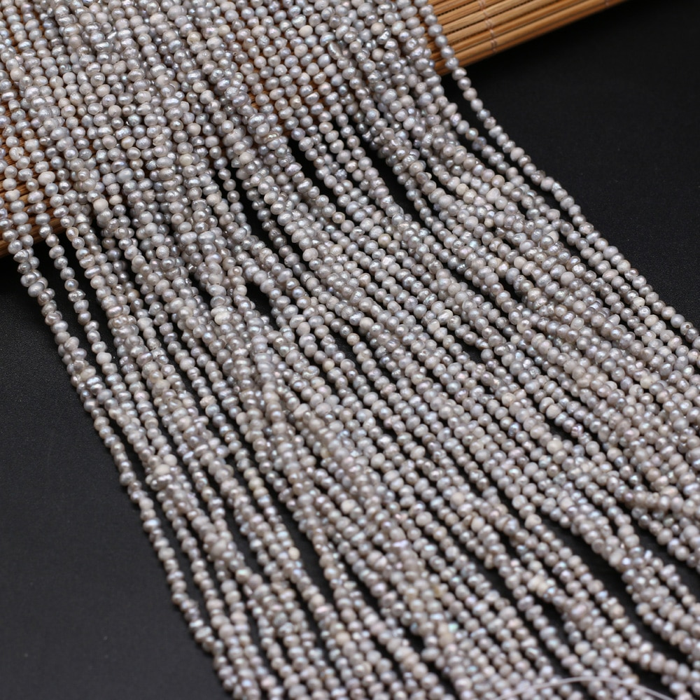 High Quality Natural Freshwater Pearl Gray Beads for Jewelry Making DIY Bracelet Necklace Earrings Accessories Size 2.5-3mm