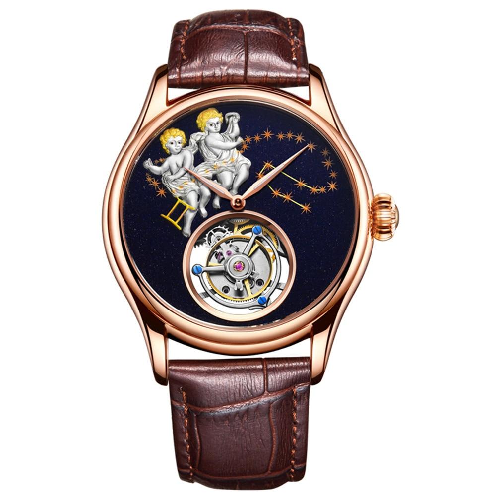 Guanqin-ساعة ميكانيكية للرجال ، ساعة توربيون أصلية للرجال ، هيكل عظمي ، مضيئة ، 100%